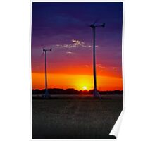 Turbine Sunset Norfolk Countryside Poster