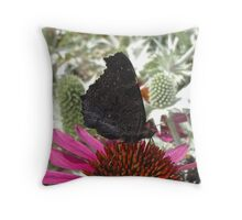 Peacock Butterfly - Wings Closed Throw Pillow