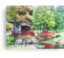 Japanese Garden With Red Bridge Canvas Print