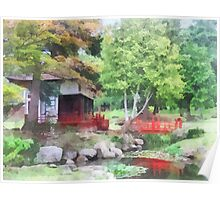 Japanese Garden With Red Bridge Poster