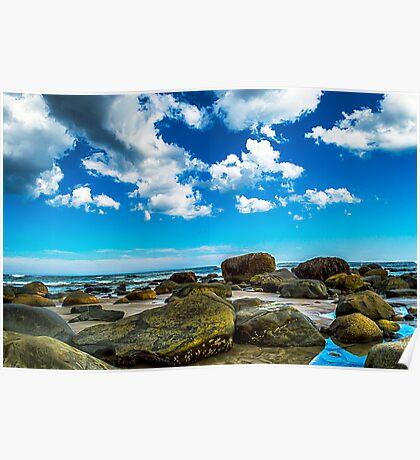 Wells Beach Rocks and Sea Poster