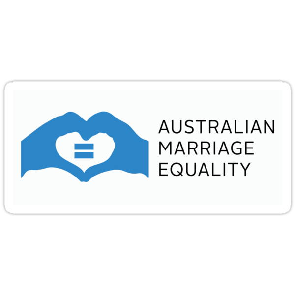 Australian Marriage Equality (Blue Logo & Text) - Stickers by Australian Marriage Equality
