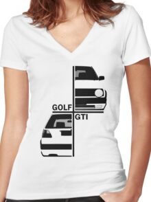vw golf, golf gti mk2 Women's Fitted V-Neck T-Shirt