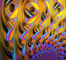A different spiral, colourful fractal artwork by walstraasart