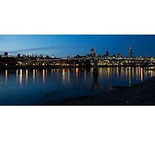 London Skyline Reflecting in the Thames River at Night Photographic Print