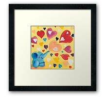 Love - Rondy the Elephant with colorful hearts Framed Print