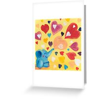 Love - Rondy the Elephant with colorful hearts Greeting Card