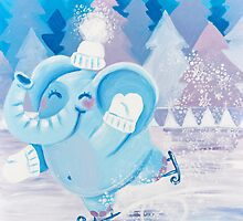 Ice Skating - Rondy the Elephant dancing on ice by oksancia