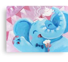 Tea Time - Rondy the Elephant with a tea pot Canvas Print