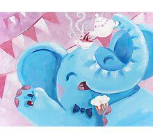 Tea Time - Rondy the Elephant with a tea pot Photographic Print