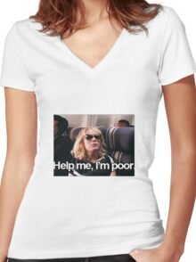 Help me, I'm Poor. Women's Fitted V-Neck T-Shirt