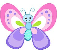 Cute Cartoon Butterfly Photographic Print