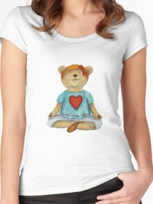 Live Love Yoga Bear (no background) Women's Fitted Scoop T-Shirt