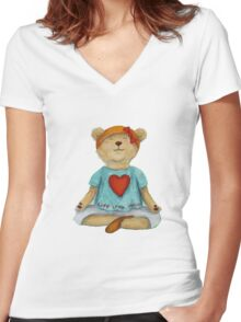 Live Love Yoga Bear (no background) Women's Fitted V-Neck T-Shirt