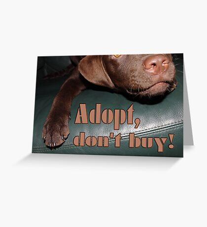 Adopt don't buy Greeting Card