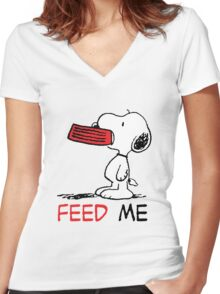 Hungry Snoopy Women's Fitted V-Neck T-Shirt