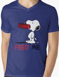 Hungry Snoopy Mens V-Neck T-Shirt