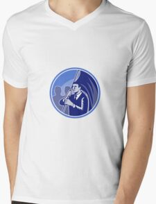 Businessman Flag Bearer Retro Mens V-Neck T-Shirt