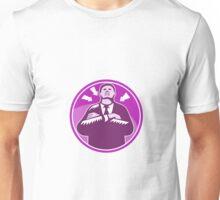 Black Businessman Bouncer Arms Folded Woodcut Unisex T-Shirt