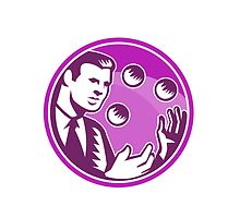 Businessman Juggler Juggling Balls Retro by patrimonio