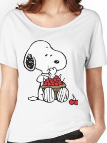 Snoopy Eats Cherry Women's Relaxed Fit T-Shirt