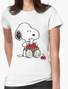 Snoopy Eats Cherry Womens Fitted T-Shirt