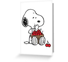 Snoopy Eats Cherry Greeting Card