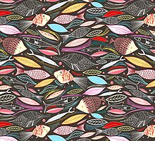 bright autumn pattern of fish and leaves by Tanor