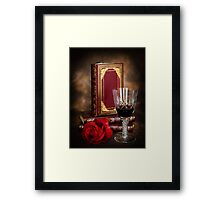 Red Wine with Rose Framed Print