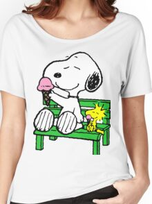Snoopy and Woodstock Ice Cream Women's Relaxed Fit T-Shirt
