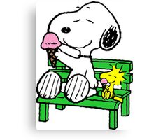 Snoopy and Woodstock Ice Cream Canvas Print