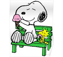 Snoopy and Woodstock Ice Cream Poster