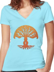 Tree of Life, Woodcut (viviána) Women's Fitted V-Neck T-Shirt