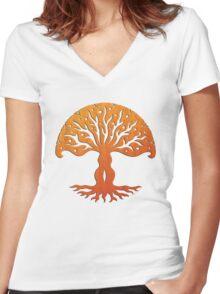 Tree of Life, Woodcut (viviána) Women's Fitted V-Neck T-Shirt