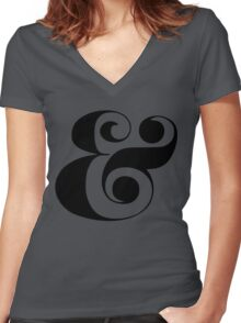 Ampersand (Eloquent Swash) Women's Fitted V-Neck T-Shirt