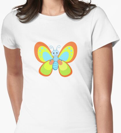 Cute Cartoon Butterfly Womens Fitted T-Shirt