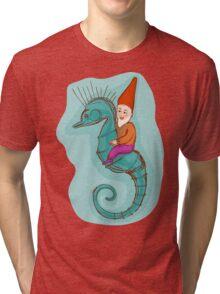 fairytale dwarf riding a seahorse Tri-blend T-Shirt