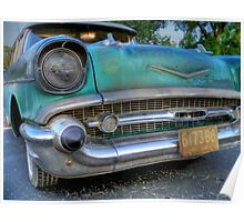 '57 Chevy rustic old Chevrolet blue Poster