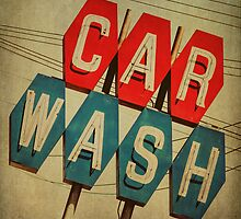 Retro Car Wash Sign by Honey Malek
