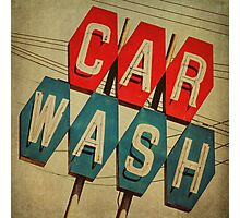 Retro Car Wash Sign Photographic Print