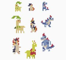 Mini Pixel Johto Starters - Set of 9 by pixelatedcowboy