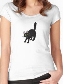 Tousled black cat. Halloween. Women's Fitted Scoop T-Shirt