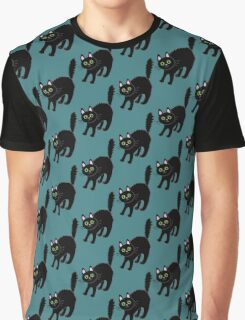Tousled black cat. Halloween. Graphic T-Shirt