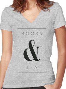 books & tea Women's Fitted V-Neck T-Shirt