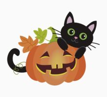 Black cat hides behind pumpkin. Halloween. Kids Tee