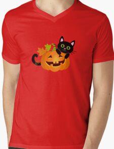 Black cat hides behind pumpkin. Halloween. Mens V-Neck T-Shirt