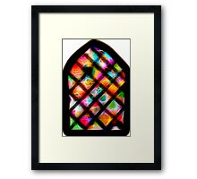 Spirograph Stained Glass Window with Stars Framed Print