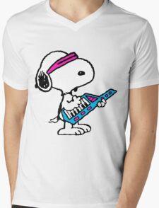 Keytar Snoopy Mens V-Neck T-Shirt
