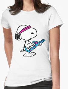 Keytar Snoopy Womens Fitted T-Shirt