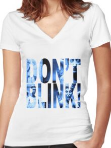 Weeping Angels - Don't Blink!! Blue* Women's Fitted V-Neck T-Shirt